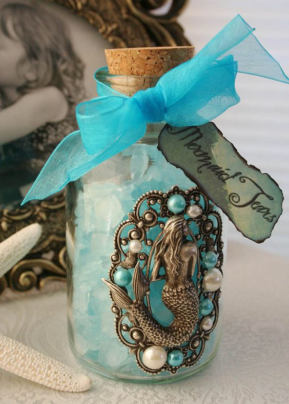 diy altered version: fill jar with shells tie ribbon around it - party favor Mermaid Tears Hand Crafted Mermaid by AngelfishOriginals on Etsy, $36.00: