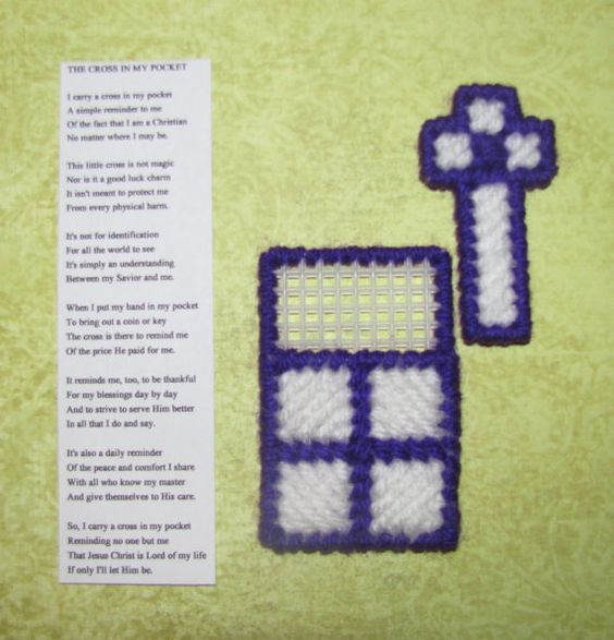 A Cross in My Pocket plastic canvas - blue, pink, purple ...