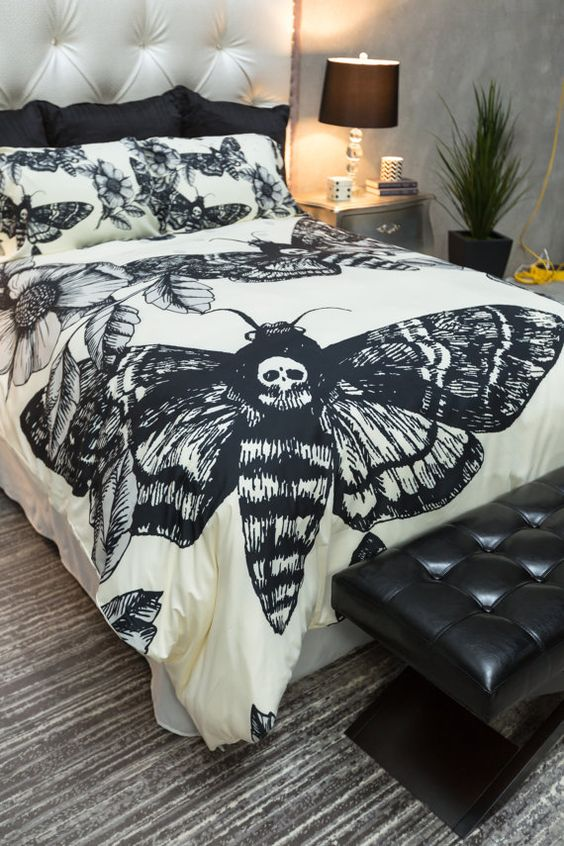 Pinterest: @MagicAndCats ☾ Featherweight Moth Skull Bedding Black Skull Death by InkandRags