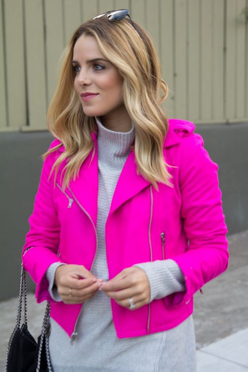 ULTRA WARM &amp CHIC!! The best jacket of the YEAR - hot pink moto