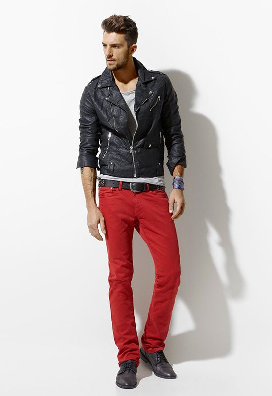 Men's Leather Jacket & Red Skinny Jeans | LUX Man | Pinterest ...