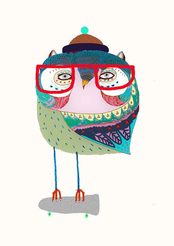 Owl Skater. Illustration print from original drawing. Ashley Percival