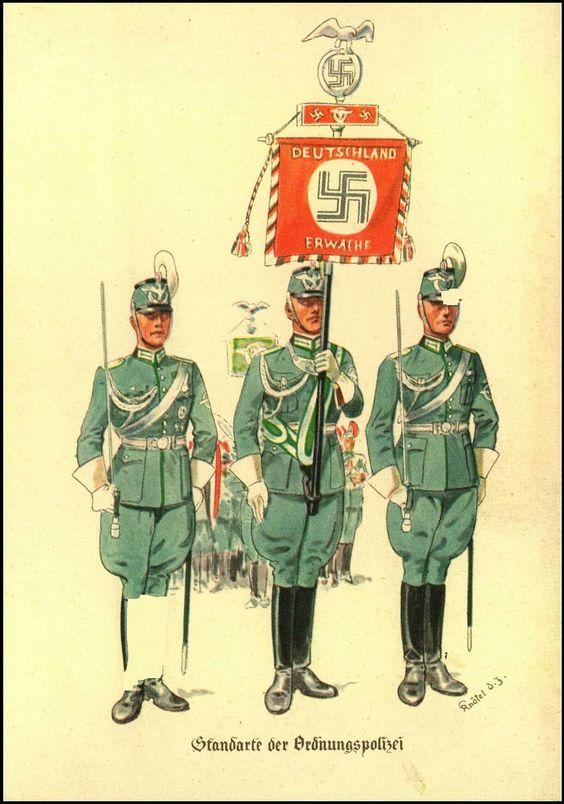"""Standarte der Ordnungspolizei"""",German postcard"""