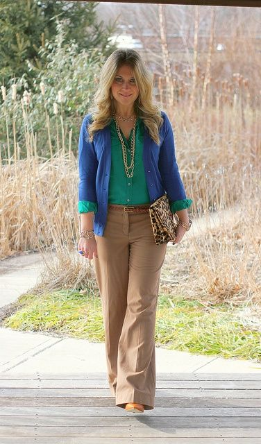 Green Shirt Blue Cardigan And Light Brown Pants Outfits