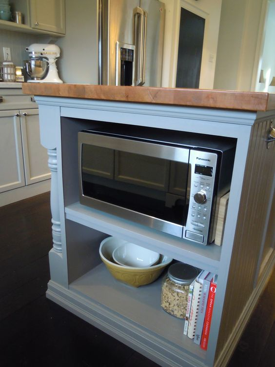 Kitchen Microwave  Foot Cabinet With Shelves