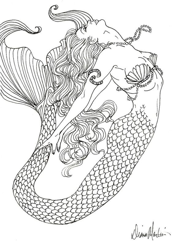 Realistic mermaid coloring pages download and print for free: