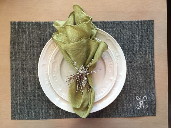 Monogrammed woven placemats to add that extra special touch to your dining table!  Found sat Mayfair Monogram!