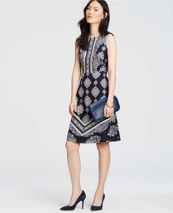 Paisley Mosaic Flare Dress   Ann Taylor.  Looks like the darts to fit the bust start from the side waist and angle up? Interesting.