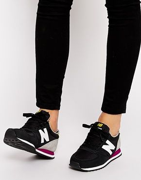 Enlarge New Balance 420 Suede Mix Black & Yellow Trainers