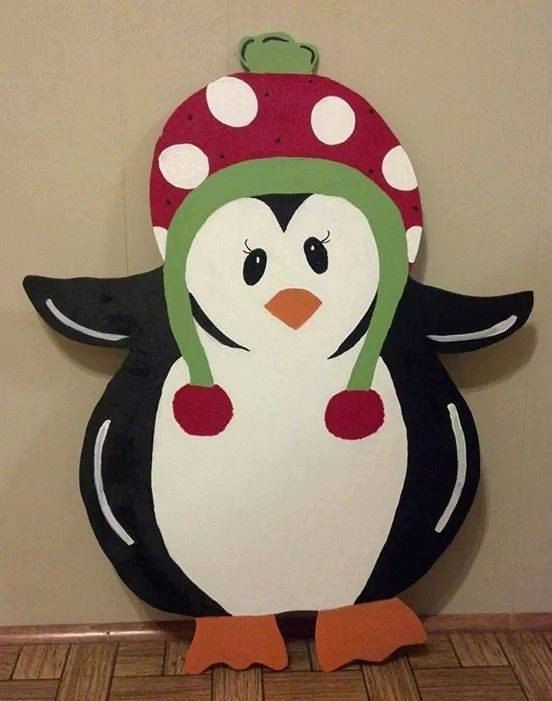 Door Hanger - Wood Cut Out - Christmas Penguin. This adorable Christmas Penguin can be changed to better meet your style! *Top Seller!