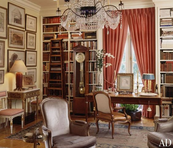 "The late designer Anthony Hail's San Francisco home. Notice where the clock stands. In front of the library shelves. A solution when you lack wall space. A 19th-century painter's ladder stands near a Swedish neoclassical clock, ""a marvelous thing,"" Hail adds. On the bureau plat is a François Clouet drawing."
