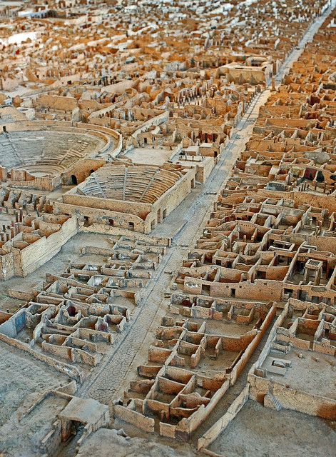 A paper, wood and plaster scale model of Pompeii by the archaeologist  Giuseppe Fiorelli between 1861 and 1879.