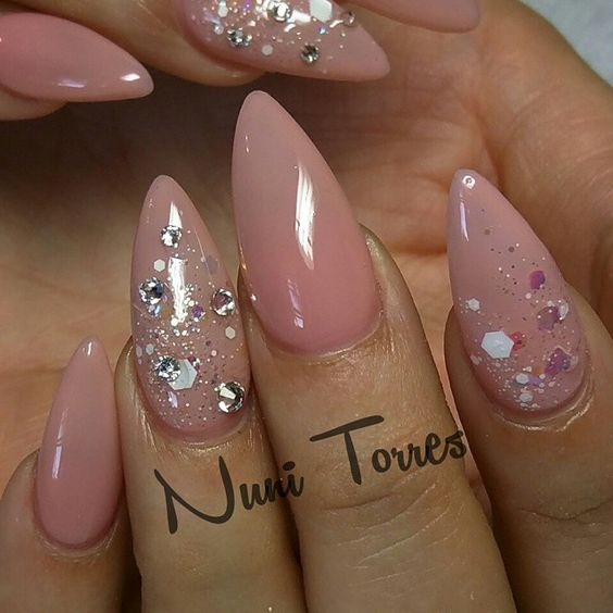 Nuni Torres (Kissimmee FL) @nunis_nails Instagram photo | Websta (Webstagram). The most beautiful nails I've seen today! #nudenails #glitternails #stilettonails