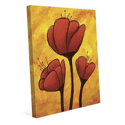 Click Wall Art Red Lily Painting Print on Wrapped Canvas Size: