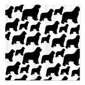 Newfoundland silhouettes Shower Curtain > Lots of Newfoundland Dogs > Kanweienea Kreations