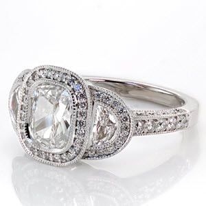 Custom bezel set cushion cut and half moon shape diamond engagement ring
