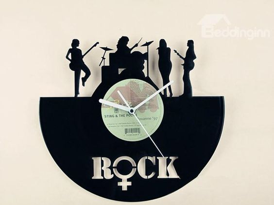 New Arrival Ladies Band Acrylic Vinyl Records Mute Wall Clock