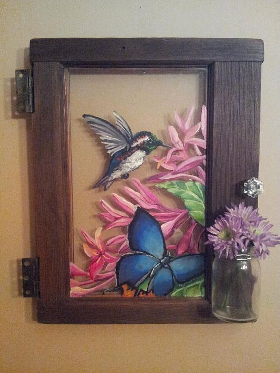 Reclaimed window painting with mason jar by for Painting on glass windows with acrylics