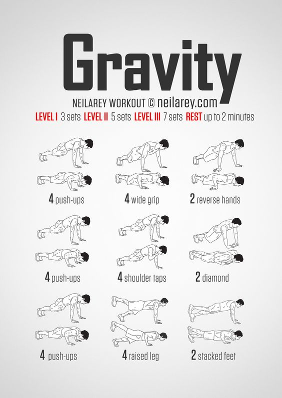 No-equipment gravity (push-up) bodyweight workout for all fitness levels. Visual guide: print & use.