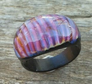 Lampworking ring with Double Helix Glass