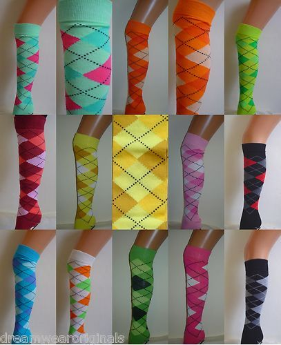 Argyle Check Diamond Cotton Stretch Knee High Socks Pub Golf Fancy Dress New | eBay