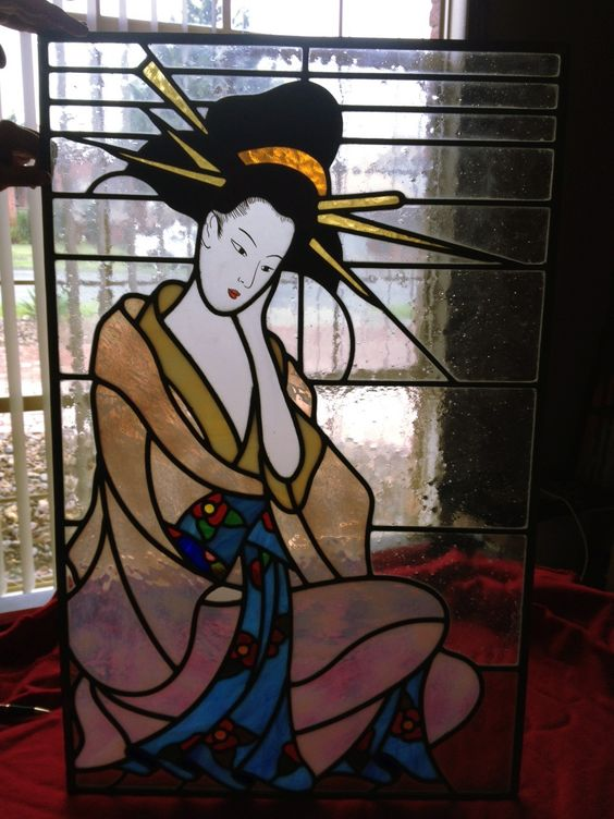 My fathers geisha design ( leadlight for sale )