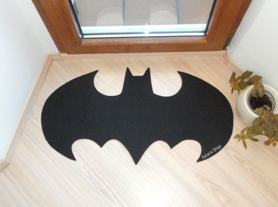 Rug based in a batman logo shape doormat custom door mat logo small size logo design front - Geeky welcome mats ...