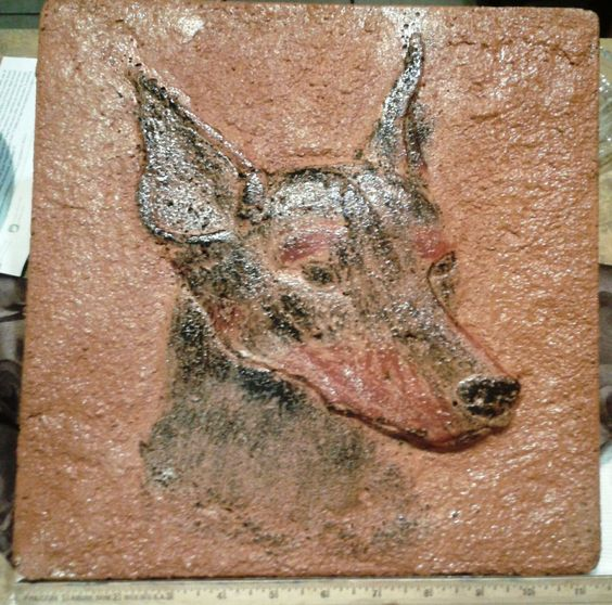 """Doberman Pinscher Stepping Stone Hand-Cast Concrete Home Decor or Table Top #SteppingStone - Large (11.5"""" x 1"""") and heavy enough for outdoor use in decent weather or indoors any where you please. EBay auction sale proceeds go to Hand Me Down Dobes!"""