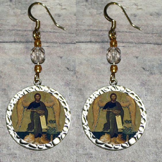 Saint St JOHN the BAPTIST Altered Art Beaded Frame EARRINGS