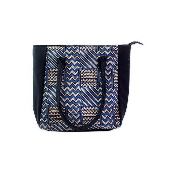NOVICA 100% Cotton Batik Tote Handbag in Azure from India (€40) ❤ liked on Polyvore featuring bags, handbags, tote bags, accessories, blue, clothing & accessories, tote handbags, cotton tote, blue tote bag and blue tote handbags