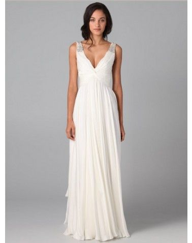 V-Neck Beading Ruffles Straps Chiffon A-line Floor Length Formal Dress  Like this one