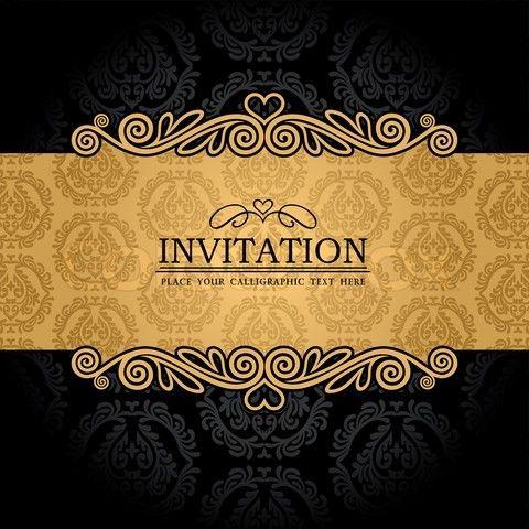 wallpaper with ornamental gold invitation card baroque style label fashion pattern graphic ornament for decoration design vector colourbox
