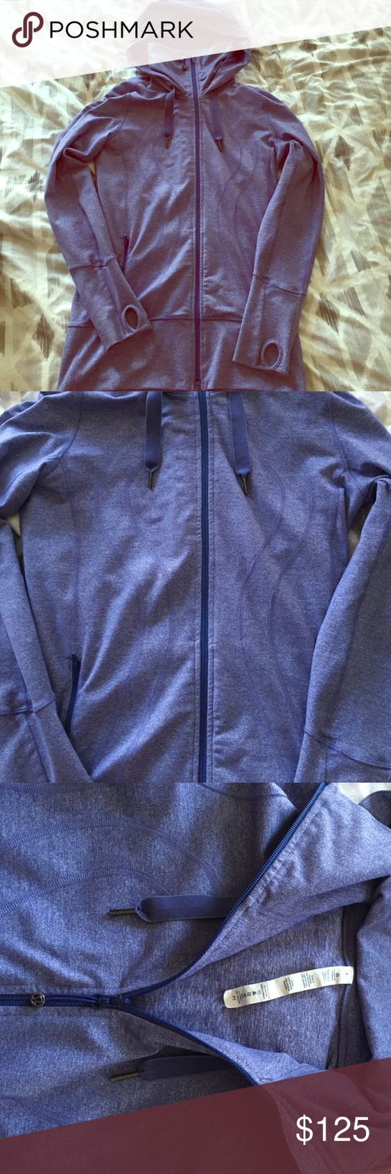 Lululemon scuba hoodie! LIKE NEW literally no signs of wear--worn gently a few times. Dri fit, stretch, blue-violet color. Size 8(M). Hooded and high neck when zipped. lululemon athletica Jackets & Coats