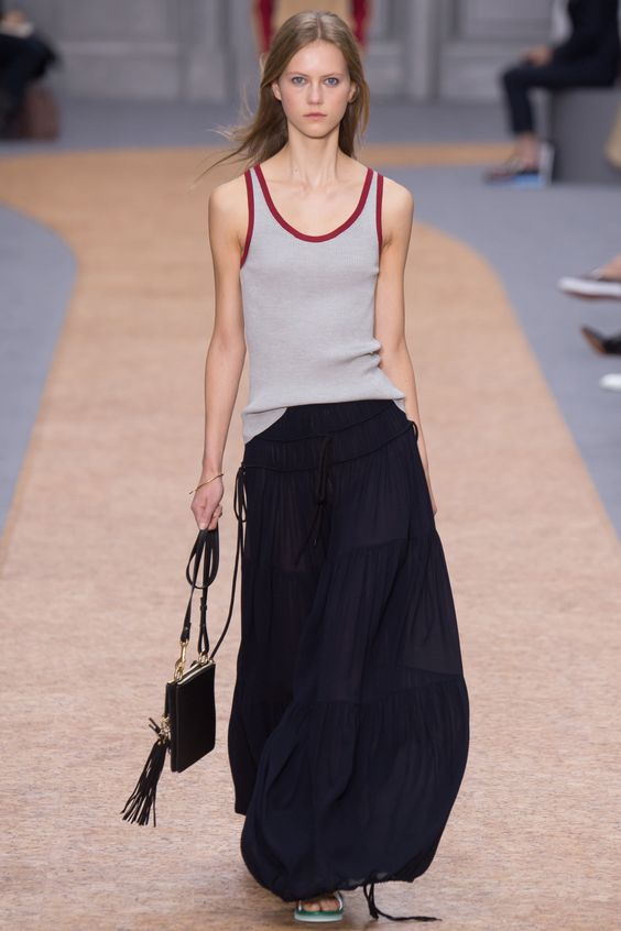 Chloé Spring 2016 Ready-to-Wear Fashion Show  ...love the balloon silhouette, makes a tiered maxi fresh again...: