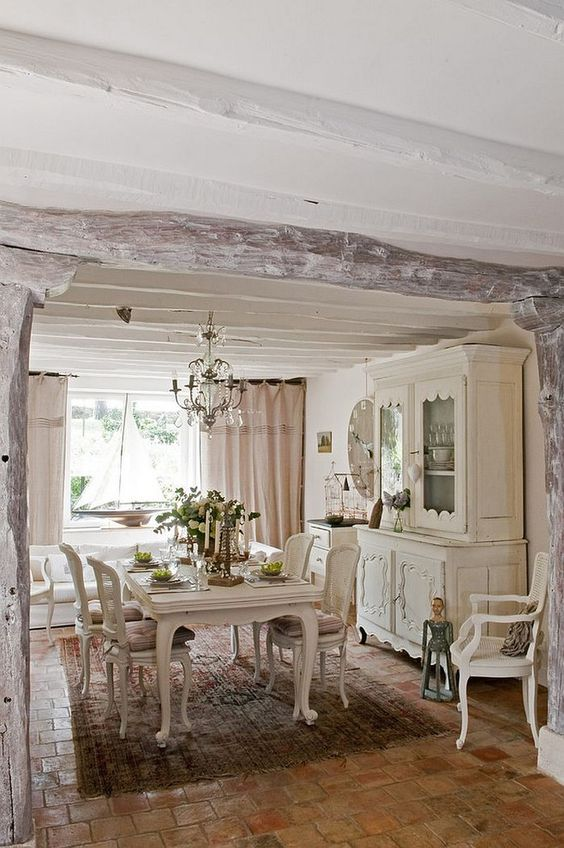 Dining Room: Tranquil French Country Dining With Painted Barn Wood Detail Coupled With Brick Tile Floor And Classic Dining Table Chair Also Chandelier: Trendy Farm House Style Dining Space Decorations: