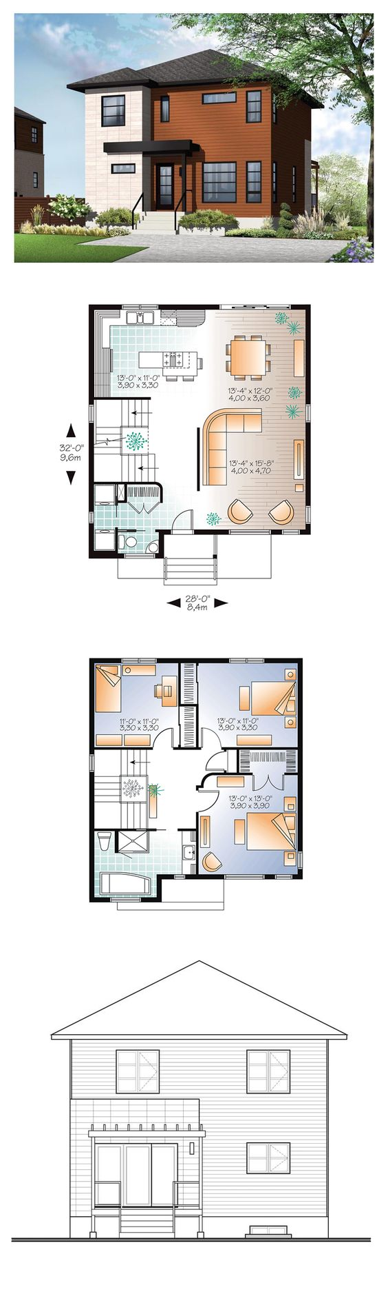 Modern House Plan 76366 | Total Living Area: 1670 sq. ft., 3 bedrooms  1.5 bathrooms. This contemporary style home presents clean and pleasing lines finished in wood and architectural block. The interior is consistent with the modern style and boasts an open concept with ample light. #houseplan #modernhome