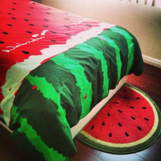 Yoyomall watermelon duvet cover and rug. http://www.amazon.com/YOYOMALL-Watermelon-Bedding-Kids-Bedroom/dp/B00NA4F6F2