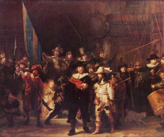 Rembrandt Harmensz. van Rijn.  Die Nachtwache. 1642, Öl auf Leinwand, 363 × 437 cm. Amsterdam, Rijksmuseum. Land: Niederlande (Holland). Barock.  KO 00731