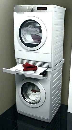 Best Washer And Dryers Stacked Dryer With Folding Shelf Between You Get This Stacking Samsung Heigh Tiny House Laundry Laundry Room Closet Laundry Room Storage