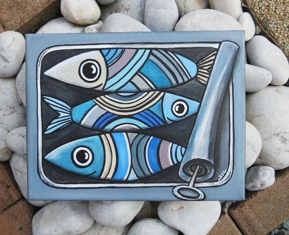 Tableau la bo te de sardines l 39 acrylique d coration - Tableau peinture acrylique facile ...