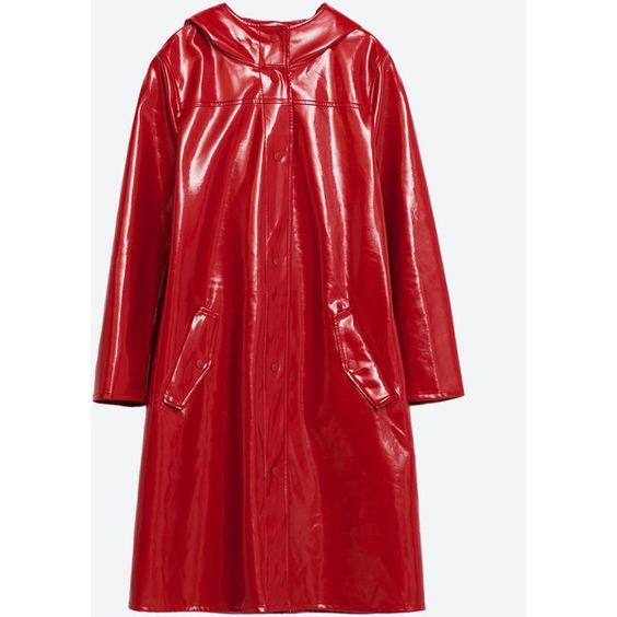 PARKA CHUBASQUERO CHAROL - ÚLTIMA SEMANA-TRF   ZARA España ($100) ❤ liked on Polyvore featuring red parka, red coat, parka coats and red parka coat