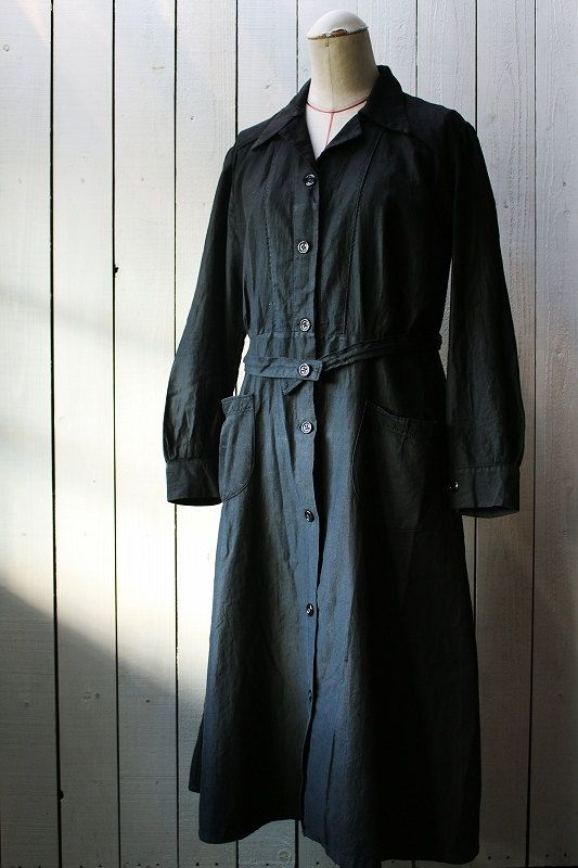 Antique black cotton coat/1920's/France/work by SASAKIYOHINTEN