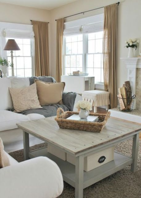 27 Comfy Farmhouse Living Room Designs To Steal | DigsDigs Love the coffee table color: