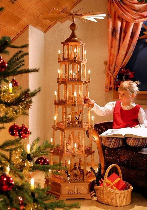 Christmas pyramid Nativity, 6-storey, electrically illuminated and powered: