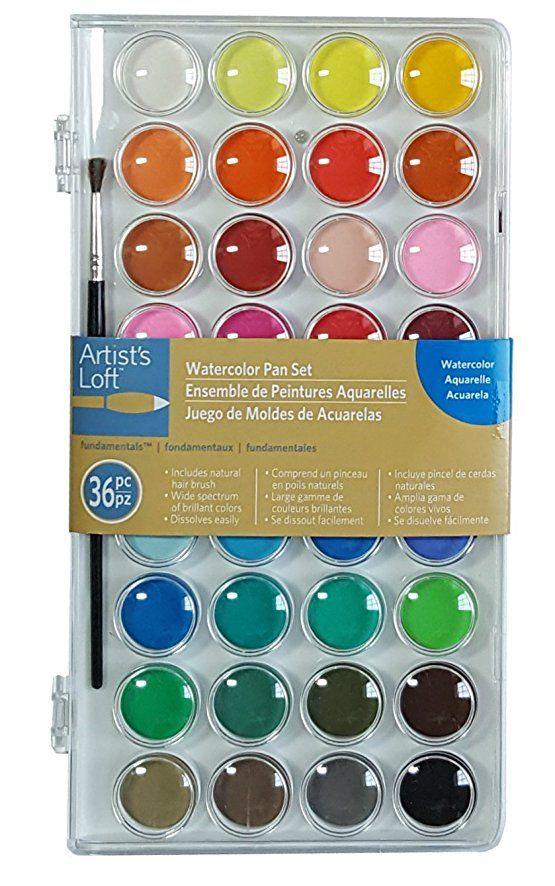 Artists Loft Fundamentals Watercolor Pan Set 36 Colors
