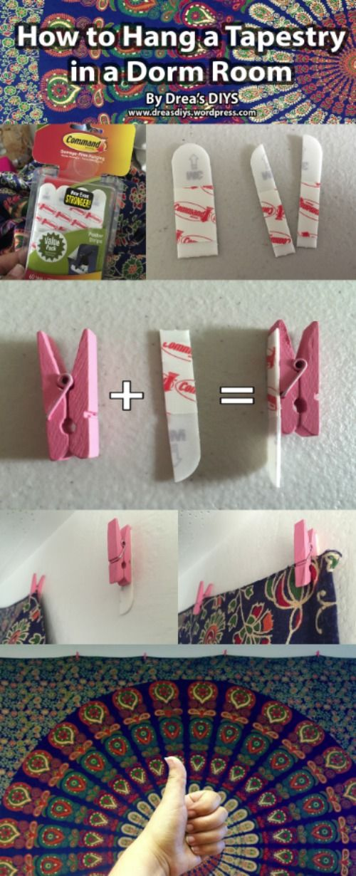 Dorm Room Hacks and Tips - Do you have ugly walls you cannot paint? Look how to hang a tapestry (or other art) without damage. More College Tips on Frugal Coupon Living.