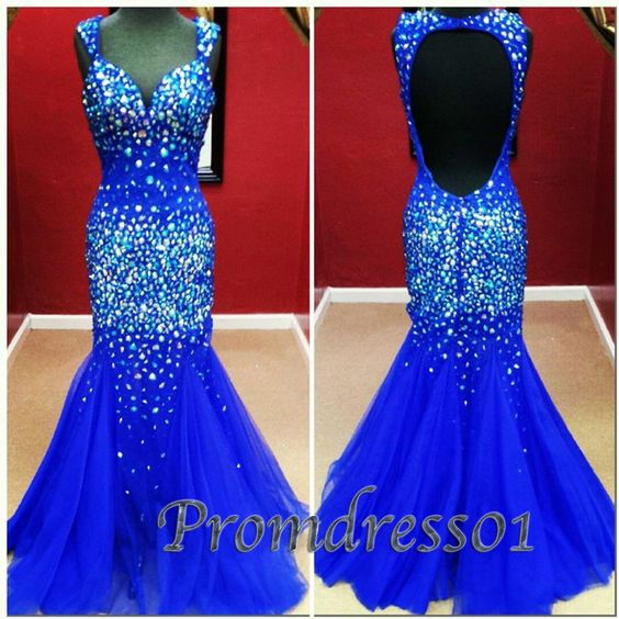 Stunning royal blue fishtail long tulle prom dress, backless ball gown for teens, sweetheart strapless evening dress from #promdress01 #promdress -> www.promdress01.c... #coniefox