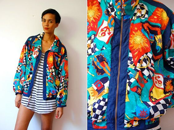 Vtg Colorful Nautical Printed Zip Up Bomber Jacket by LuluTresors ...