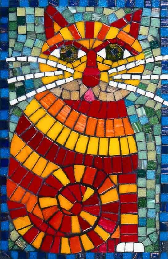 Mosaic cat mosaic design art art craft mosaics for Mosaic patterns online