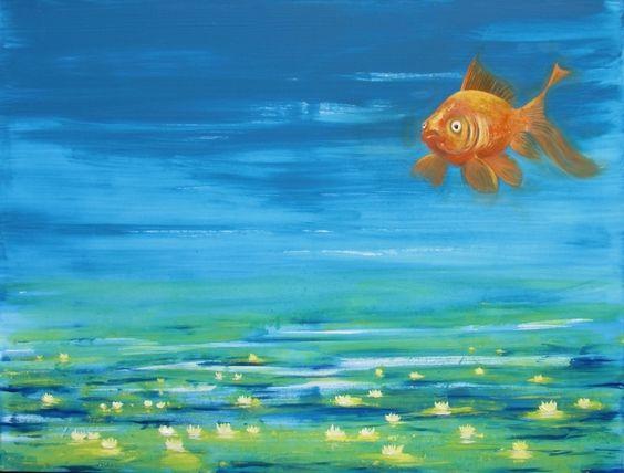 Drucke auf Leinwand - Fisch - Blau (60 x 80 cm) - FF - ein Designerstück von StaXArt bei DaWanda